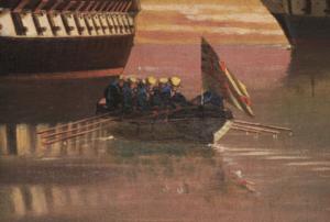 Visualização em detalhe de Marinheiros desembarcando de nau inglesa na obra Naus e fragatas inglesas no ancoradouro de Edoardo De Martino. (Direitos reservados)