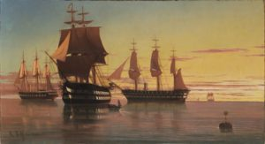 Obra Naus e fragatas inglesas no ancoradouro de Edoardo De Martino, na coleção Exposição: Marinhas - De Martino. (Direitos reservados)