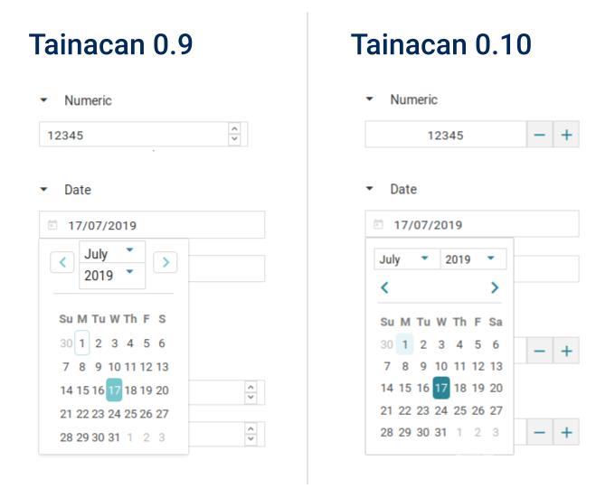 Captura de tela comparando os inputs de data e número antigos com os atuais. Há botões maiores e mais claros.