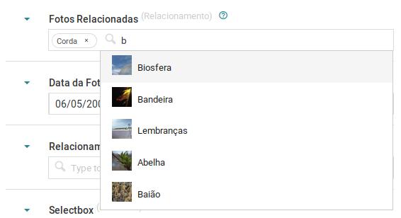 Imagem de uma entrada de autocomplete oferecendo opções de itens para um metadado elacionamento.