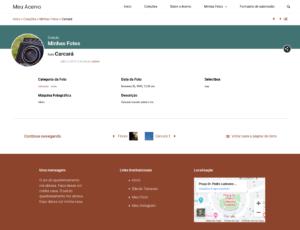 Captura de tela mostrando alguns detalhes da versão 2.1 do Tainacan Interface