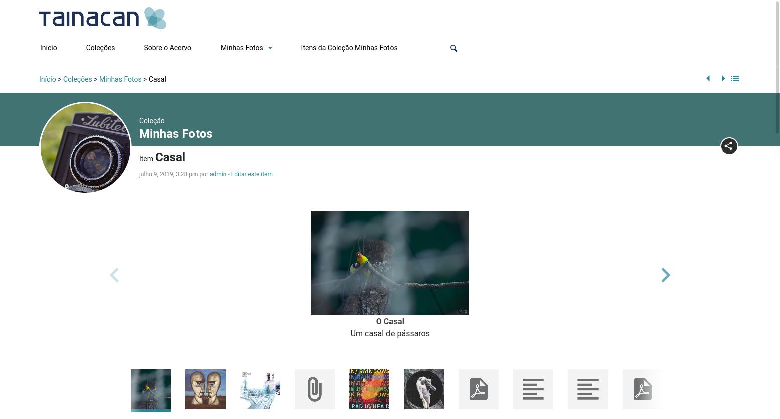Captura de tela do Tainacan Interface 2.3