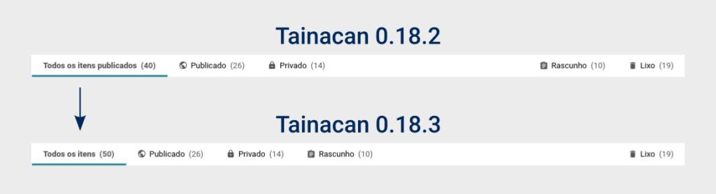 Imagem comparando as abas de itens na versão 0.18.2 com a versão 0.18.3